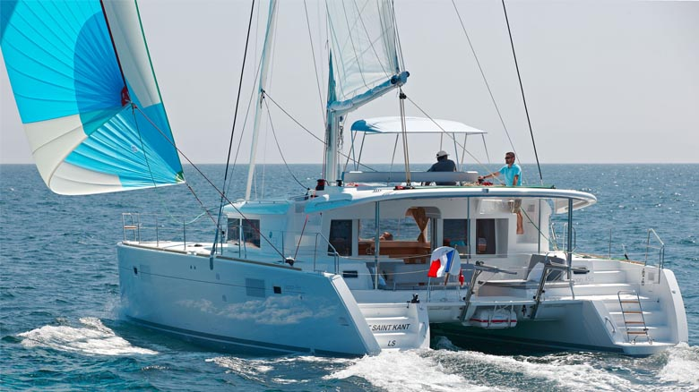 Charter catamaran sailing in France